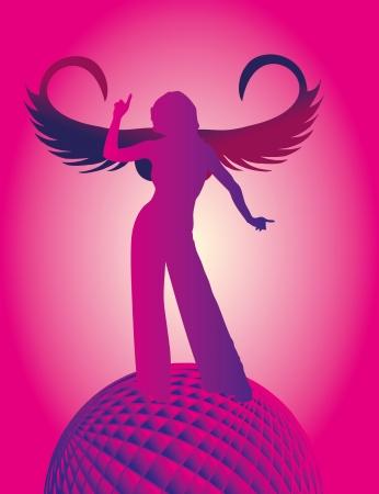 disco angel girls vector art Vector