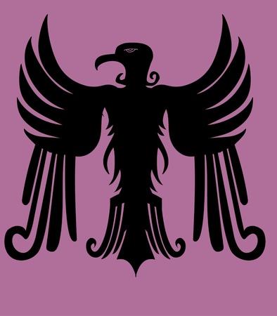 cross hatched: hearldry tribal eagle vector art