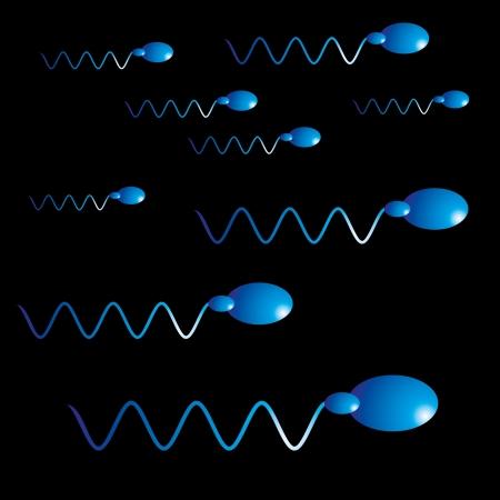 procreation: black background sperm vector art