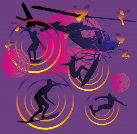 pacific surfer and helicopter vector art Vector