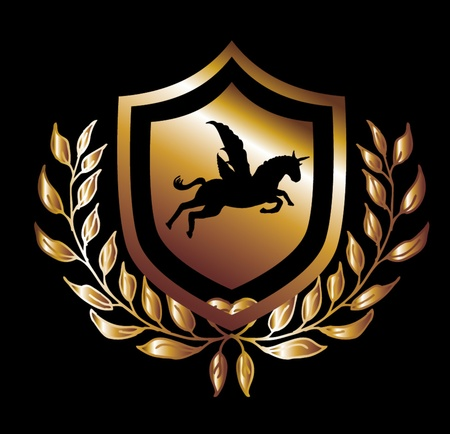 awarding: horse wings gold shield  vector art