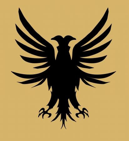 phoenix bird: tribal tattoo eagle shield vector art Illustration