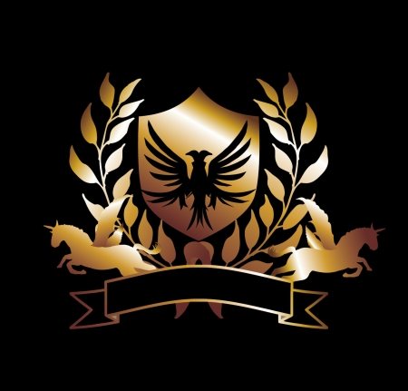 eagle and horse gold shield vector art Vector