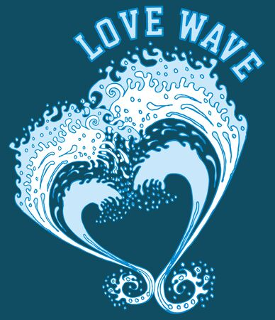 big and love wave vector art Illustration