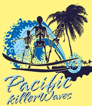 pacific ocean skeleton surfer vector art Stock Vector - 19582531