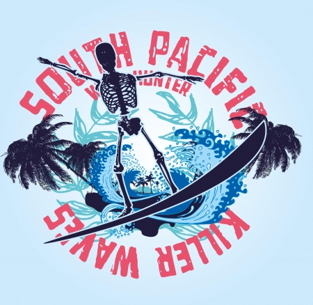pacific ocean skeleton surfer vector art Stock Vector - 19582535
