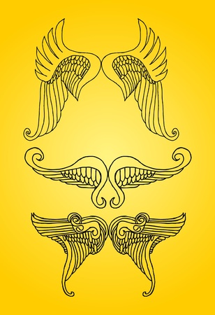 hand drawn wings: hand drawing wings vector art Illustration