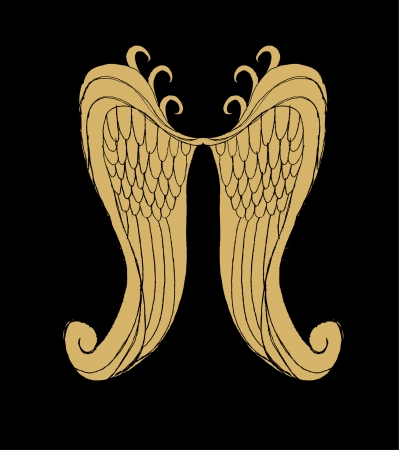 artificial wing: hand drawing wings vector art Illustration