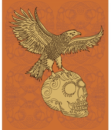 swooping: eagle and skull vector art