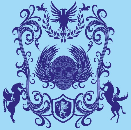 swooping: tribal skull and wings vector art