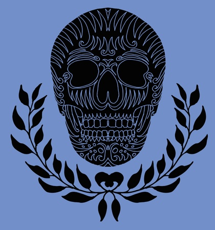 wreath and skull vector art Vector