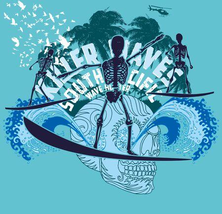 chillout: pacific ocean skeleton surfer vector art