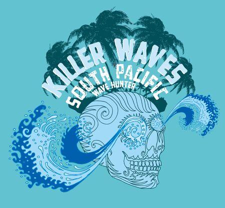 tribal tattoo skull and wave vector art Stock Vector - 19582636