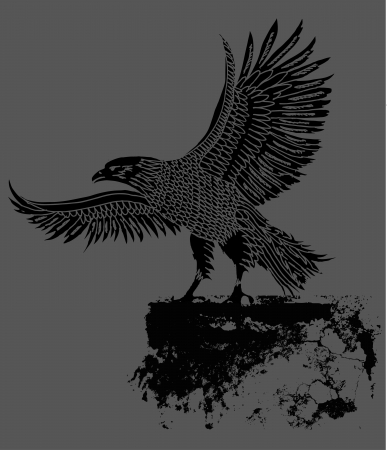cross and eagle: grunge background tribal tattoo eagle vector art Illustration