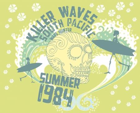 chaser: tribal tattoo skull and surfboard vector art