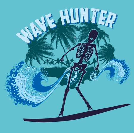 palm beach skeleton surfer vector art Stock Vector - 19582633