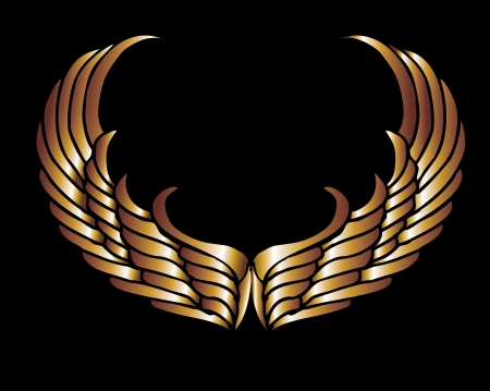 shield with wings: metalic gold wings and shield vector art