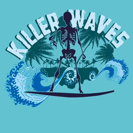 palm beach skeleton surfer vector art Vector