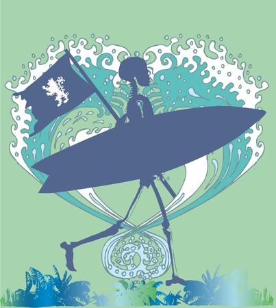 chaser: palm beach skeleton surfer vector art Illustration