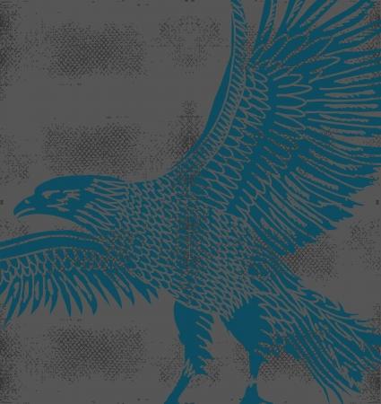 cross hatched: grunge background tribal tattoo eagle vector art Illustration