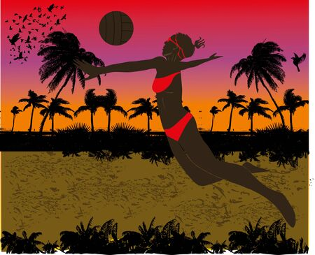 pacific ocean beach volley vector art Stock Vector - 19648361