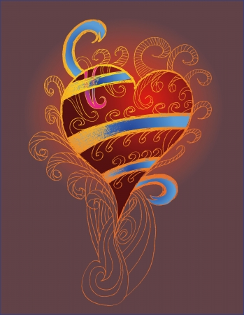 tribal tattoo hand drawing heart vector art Vector