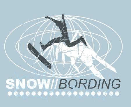 snow boarding and mountain vector art Stock Vector - 19648600