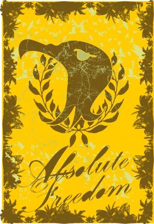 powerfully: eagle head vintage frame vector art