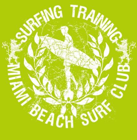 grunge background surf club wreath vector art Stock Vector - 19648608