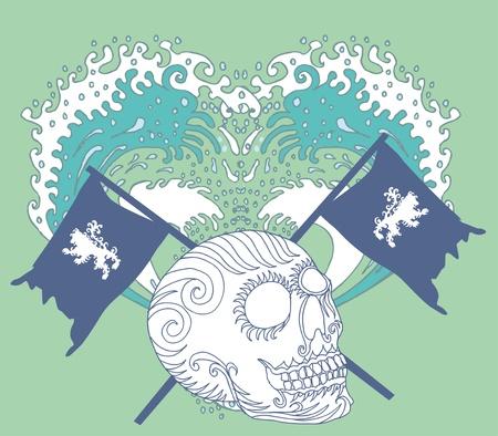 tribal tattoo skull and lion flag vector art Stock Vector - 19648511