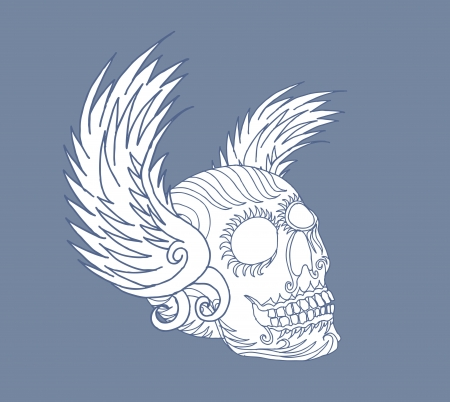 tribal wings and skull vector art Illustration