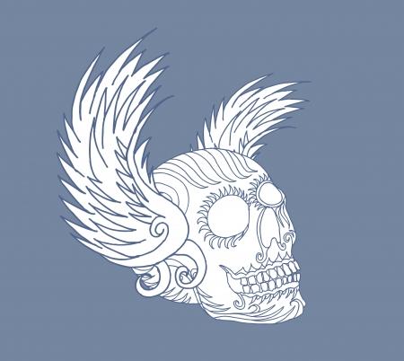 tribal wings and skull vector art Illusztráció