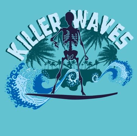 chillout: palm beach skeleton surfer vector art Illustration
