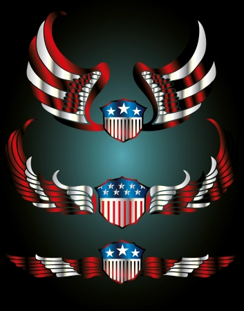 american flag wings and shield vector art