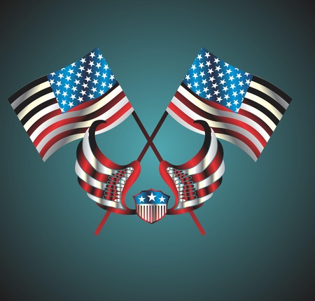 american flag wings and badge vector art Stock Vector - 19648532
