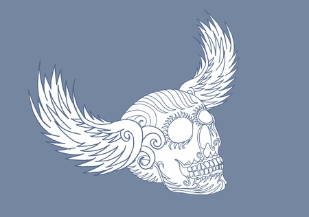 tribal wings and skull vector art Vector