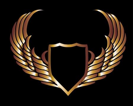 ali angelo: ali d'oro metallico e scudo arte vettoriale