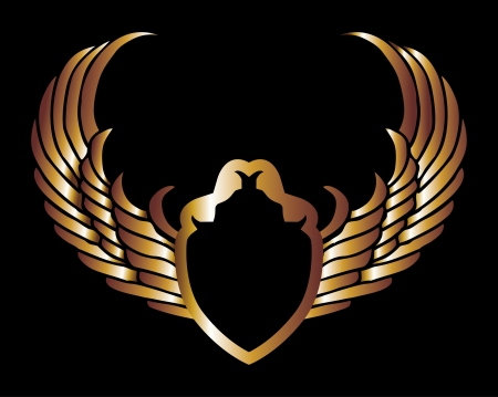 metalic gold wings and shield vector art Stock Vector - 19648500