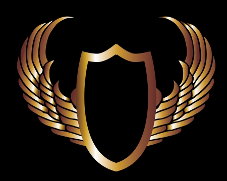 golden eagle: metalic gold wings and shield vector art