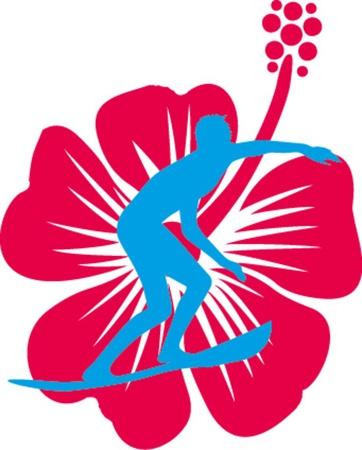 luau party: hibiscuse surfista y arte vectorial de flores Vectores