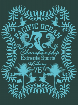 pacific surfer chamipon club vector graphic design Vector