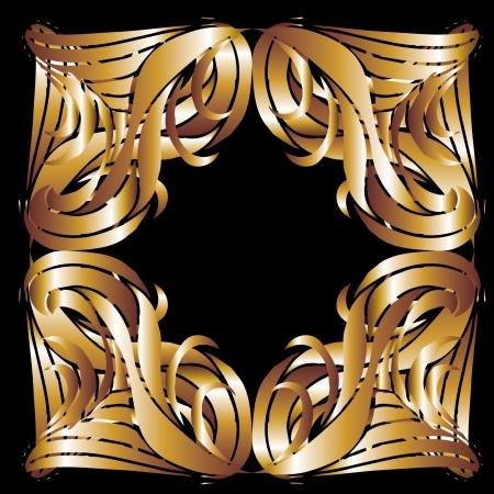 gilt: tribal design gold frame vector art