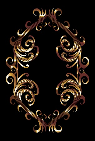 tribal design gold frame vector art Vector