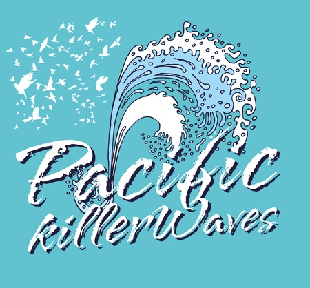 pacific ocean killer waves vector art Vector