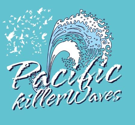 pacific ocean killer waves vector art Stock Vector - 19648730