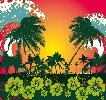 pacific ocean palm beach vector art Stock Vector - 19648754