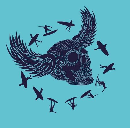 tribal tattoo skull and wings surfer art Vector