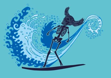 chaser: triball tattoo skeleton surfer art Illustration