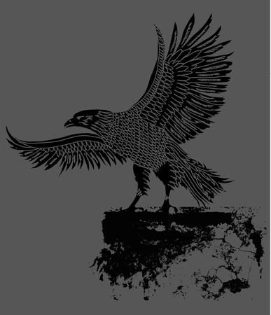 grunge background tribal tattoo eagle art Illustration