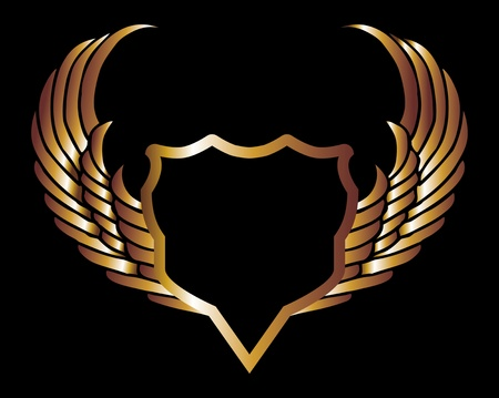 metalic gold wings and shield art Vector